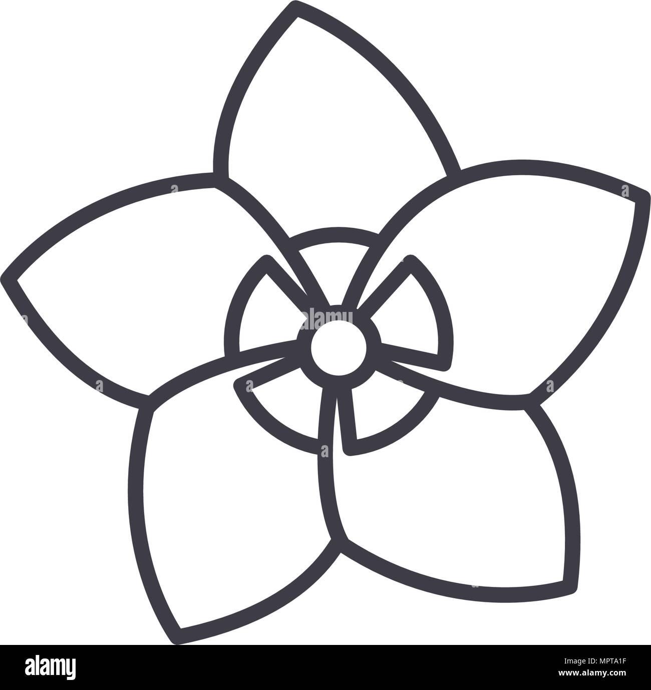 Jasmine Flower Line Icon Concept Jasmine Flower Flat Vector Sign
