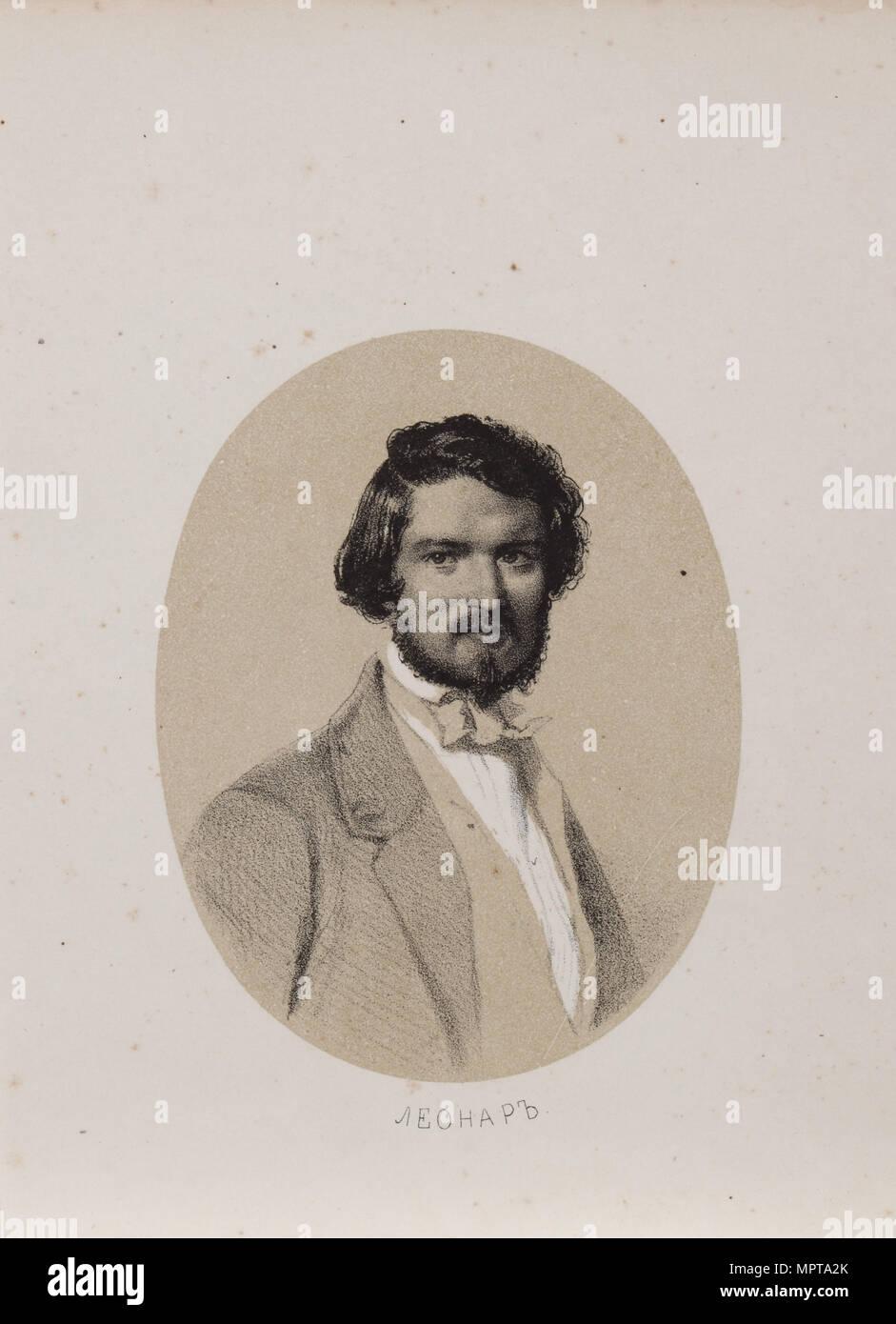 Portrait of the composer Hubert Léonard (1819-1890), 1853. - Stock Image