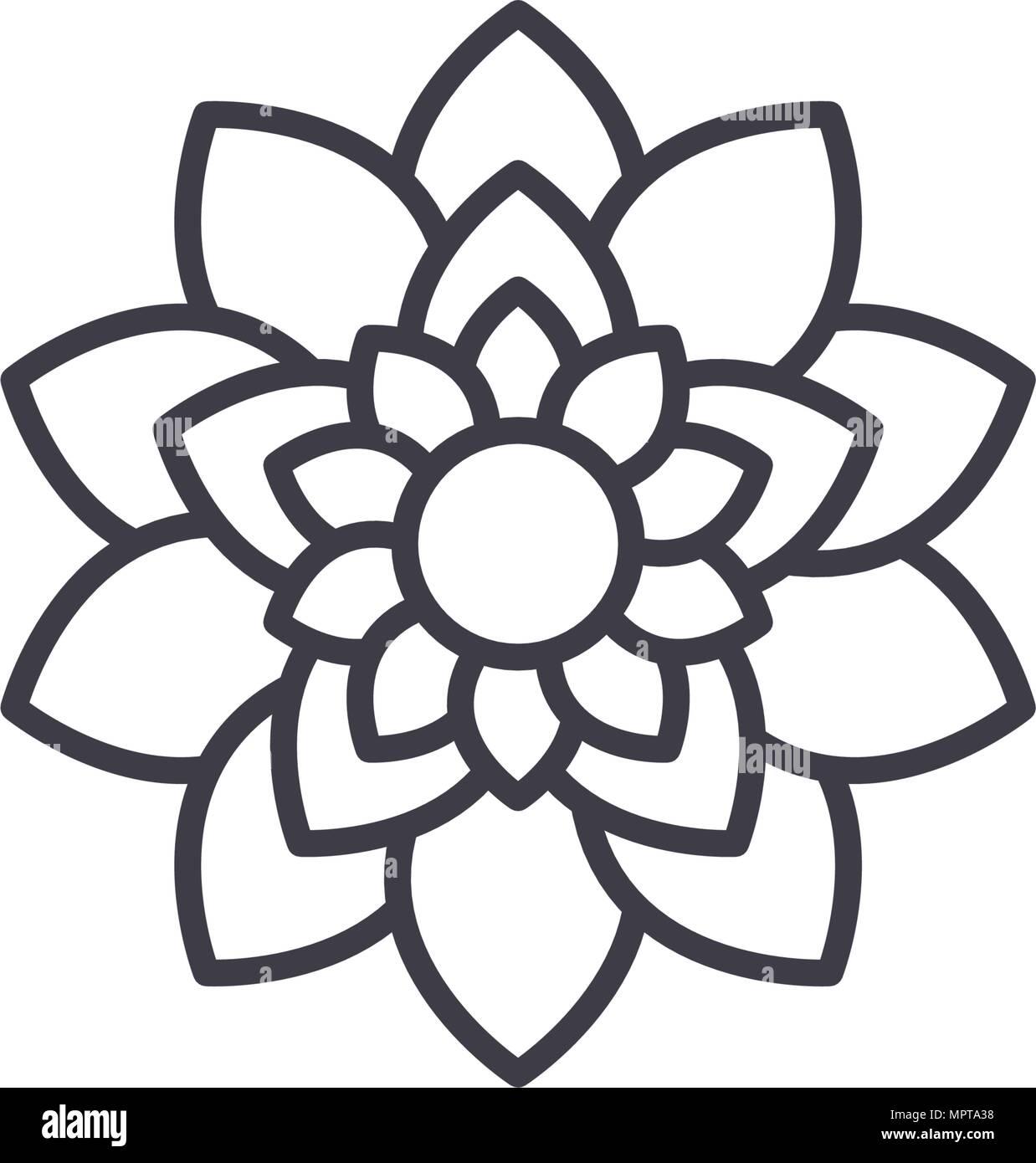 Lotus Flower Line Icon Concept Lotus Flower Flat Vector Sign