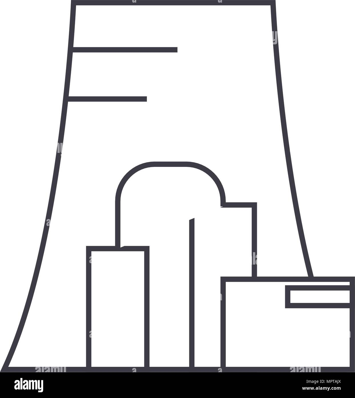 thermal power plant thin line icon concept thermal power plant Thermal Power Production thermal power plant thin line icon concept thermal power plant linear vector sign, symbol, illustration