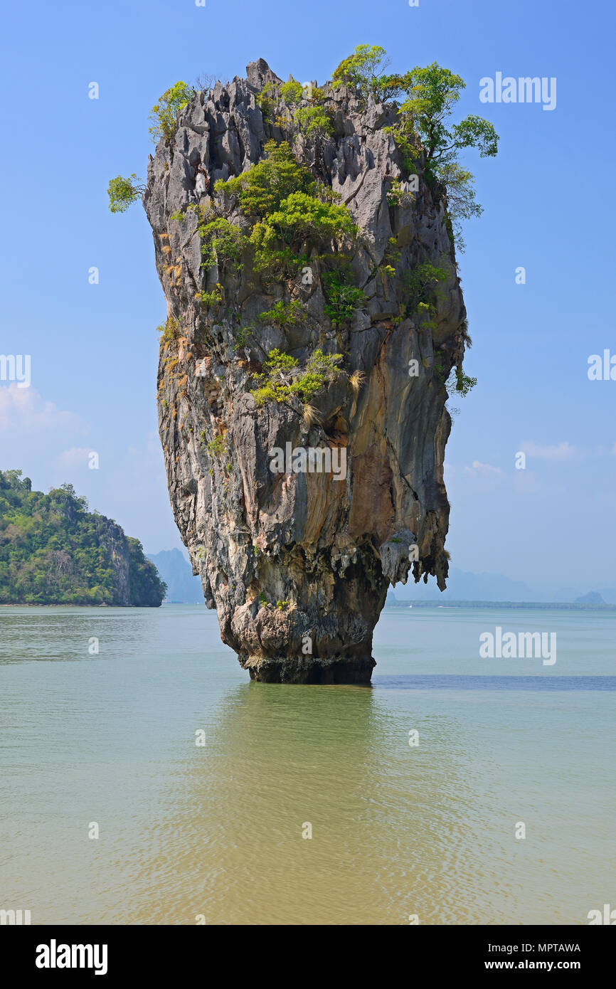Striking rock formation on Khao Phing Kan Island, also James Bond Island, Thailand - Stock Image