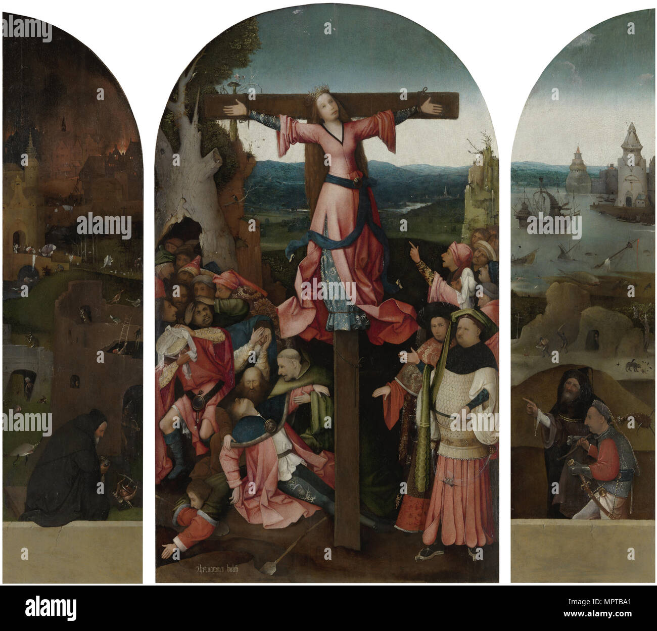 Triptych of the Martyrdom of Saint Liberata. - Stock Image
