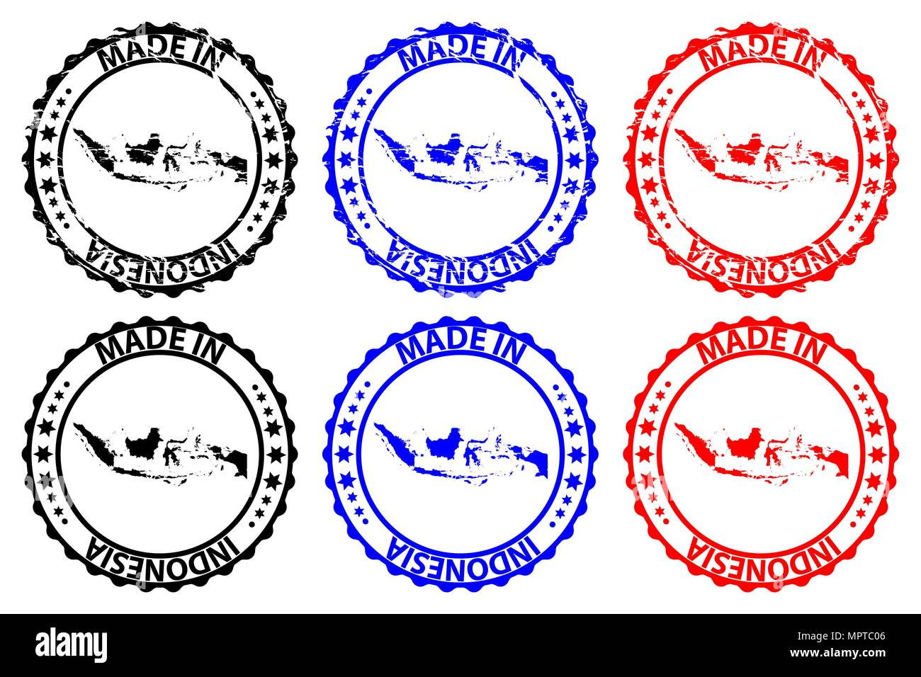 Made in Indonesia - rubber stamp - vector, Republic of Indonesia map pattern - black, blue and red Stock Vector