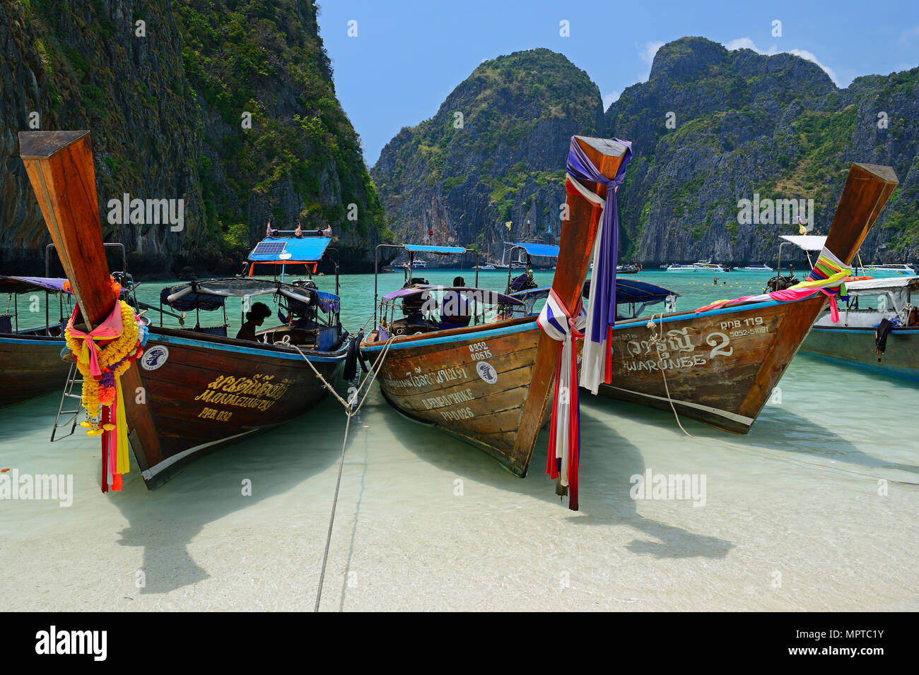 Traditional longtail boats, Maja Beach, Phi Phi Island, Thailand - Stock Image