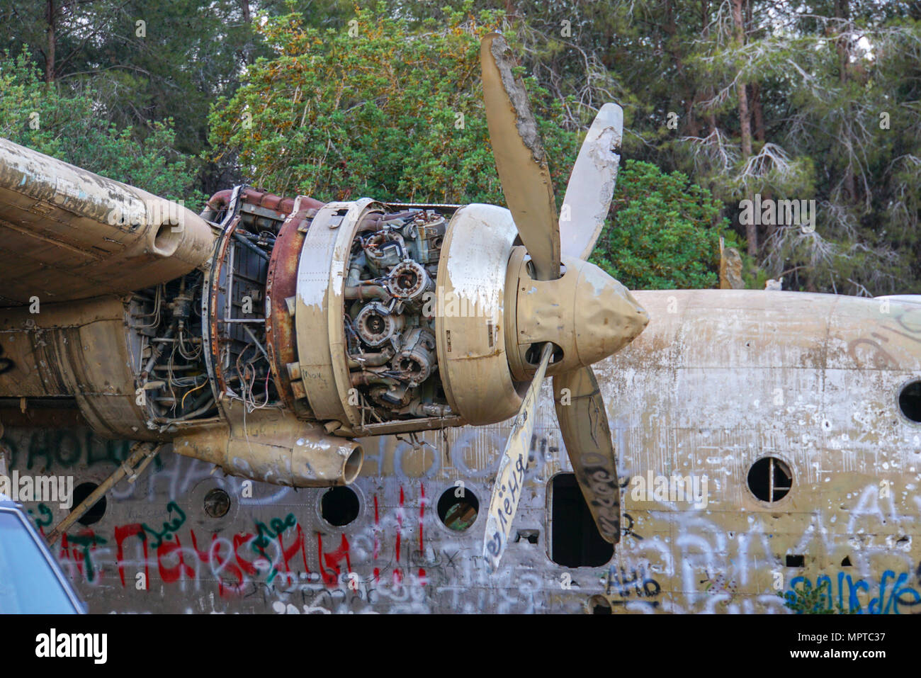 Israeli Air Force Nord N.2501D Noratlas at Defenders Park Nahshon Junction, Israel. It was set up as a memorial for the paratroopers unit 317. - Stock Image