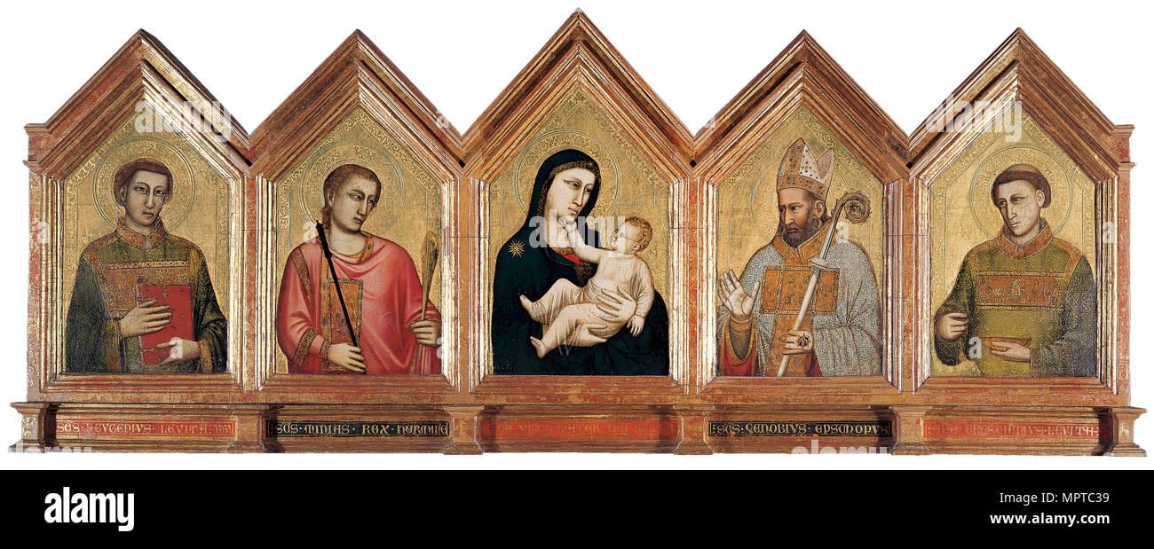 Virgin and child with Saints Eugenius, Minias, Zenobius and Crescentius. - Stock Image