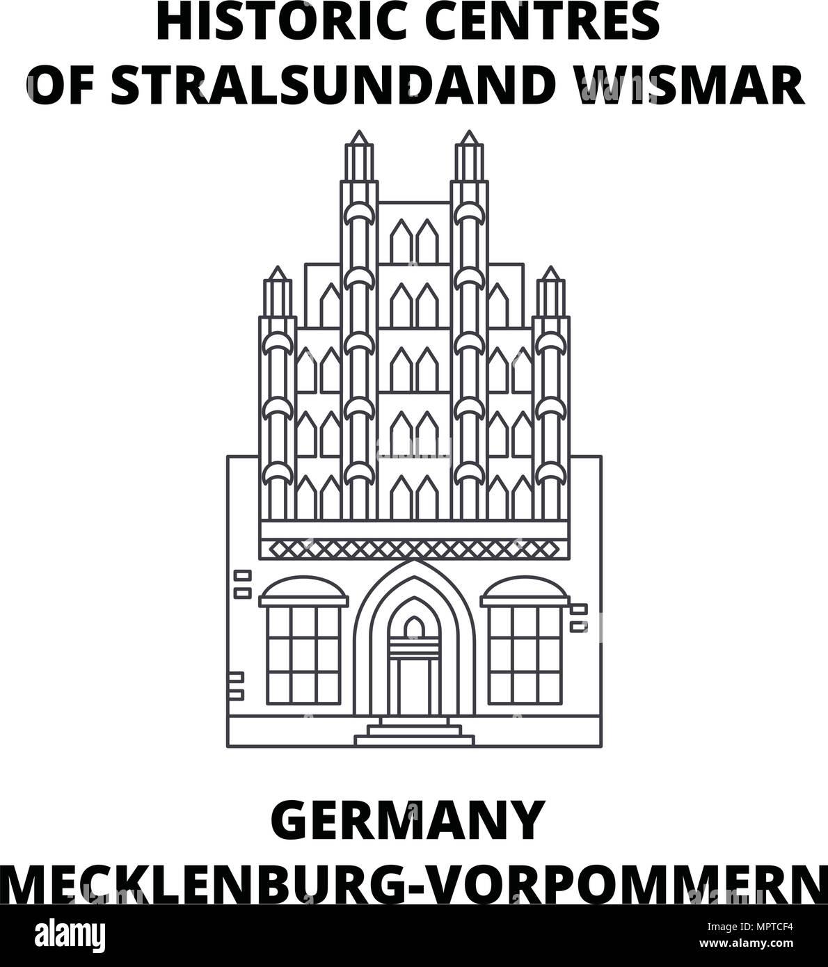 Germany, Mecklenburg-Vorpommern, Historic Centres Of Stralsundand Wismar line icon concept. - Stock Vector