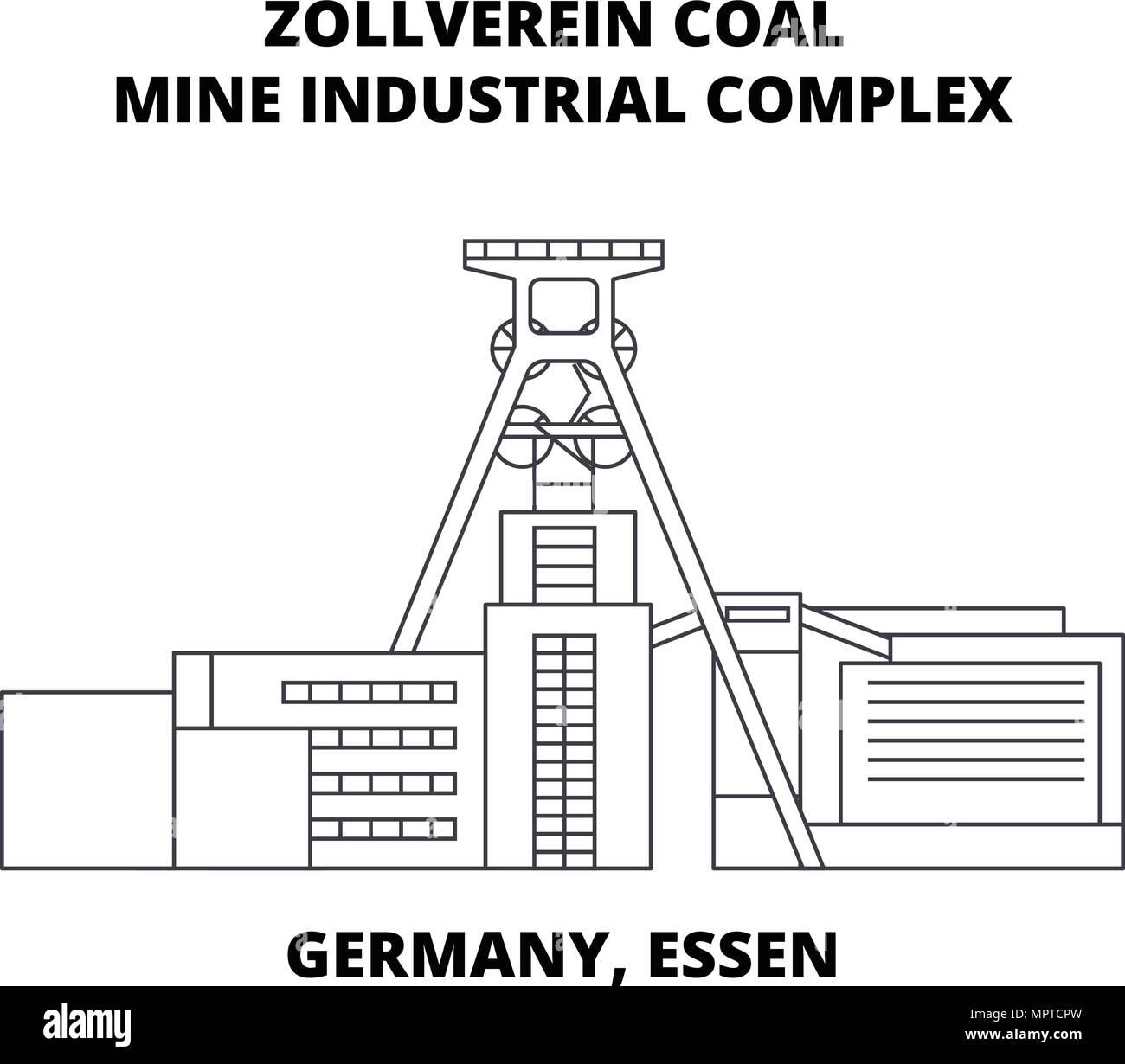 Germany, Essen, Zollverein Coal Mine Industrial Complex line icon concept. Germany, Essen, Zollverein Coal Mine Industrial Complex linear vector sign, symbol, illustration. - Stock Vector