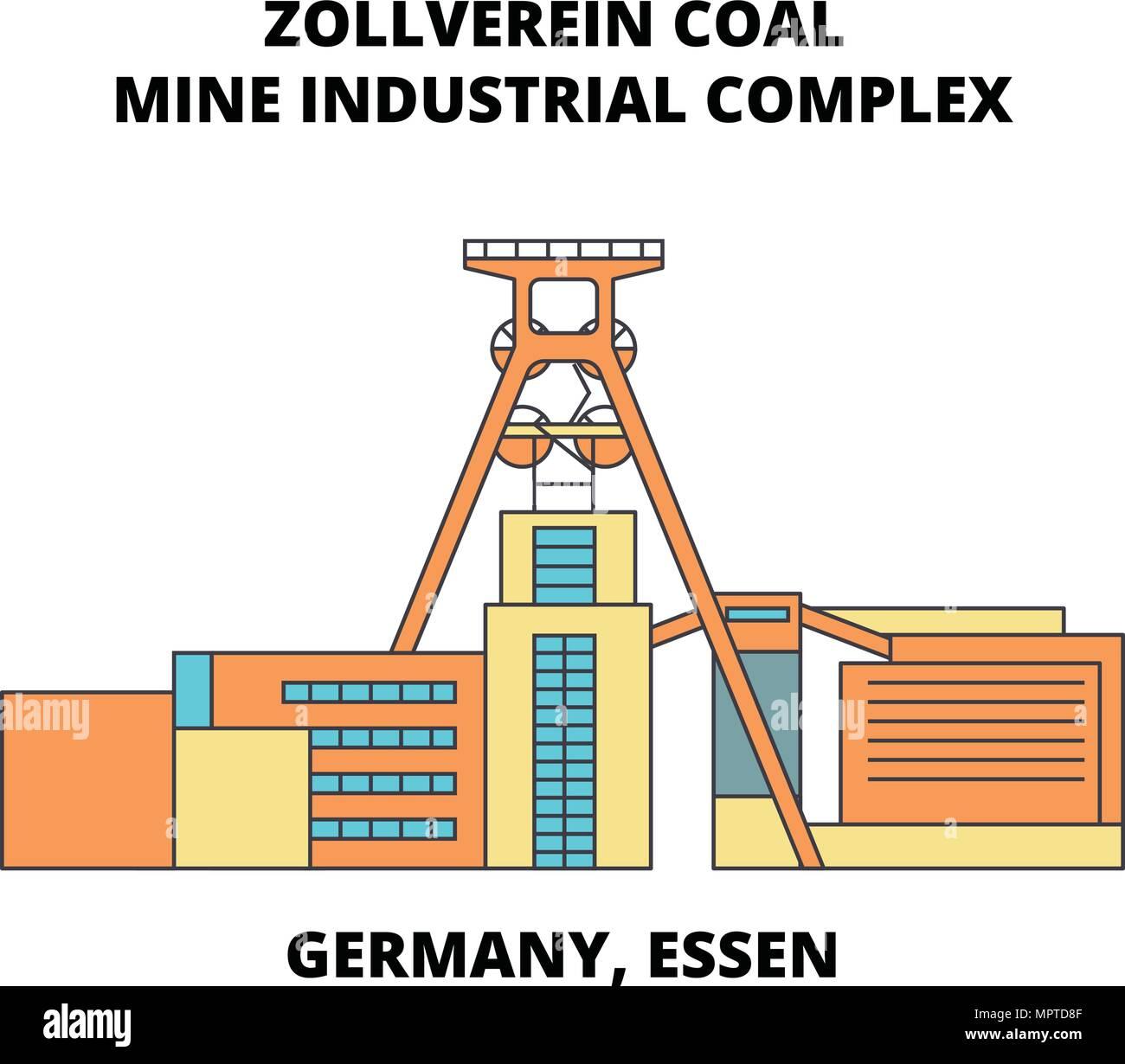 Germany, Essen, Zollverein Coal Mine Industrial Complex line icon concept. Germany, Essen, Zollverein Coal Mine Industrial Complex flat vector sign, symbol, illustration. - Stock Vector