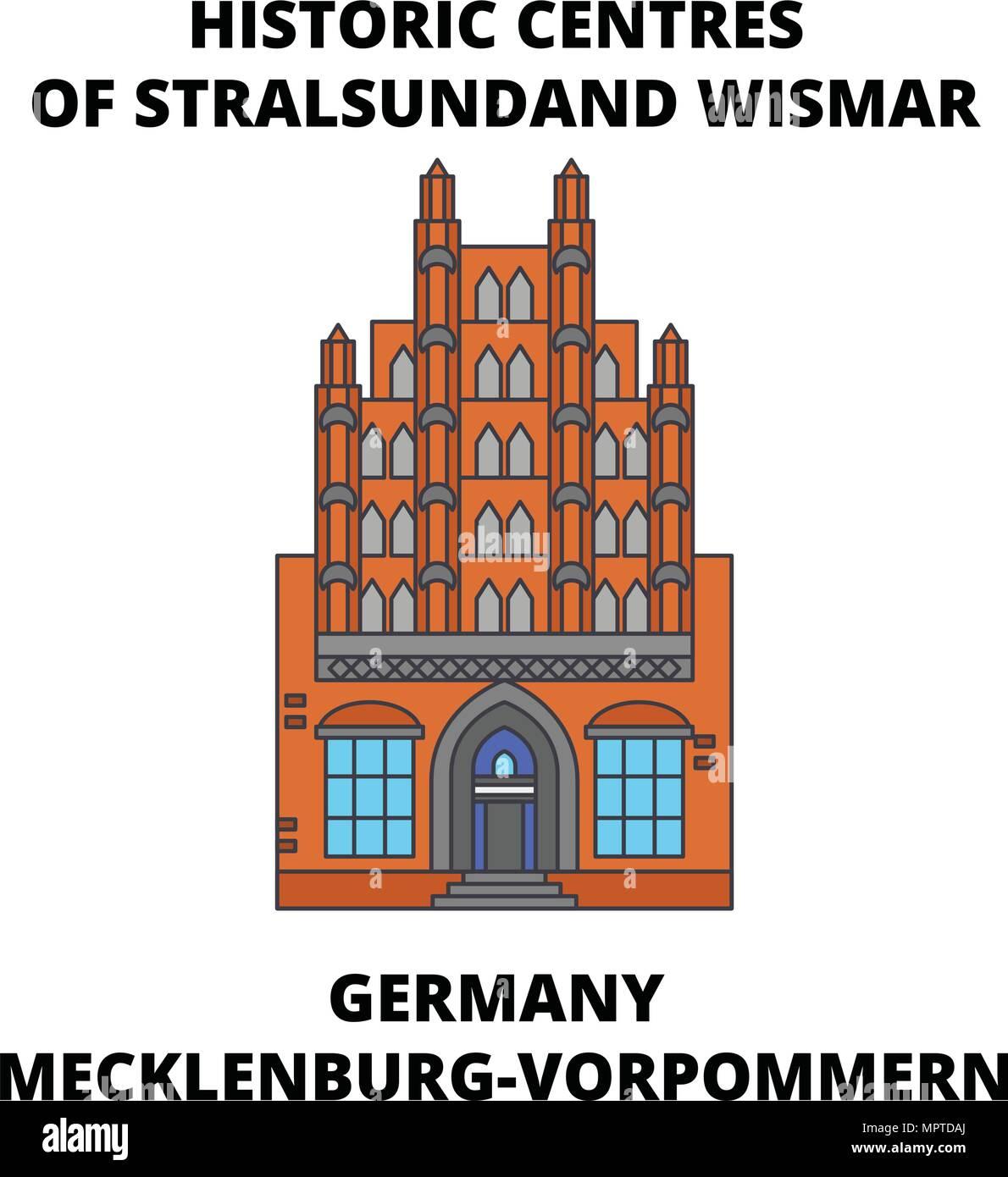 Germany, Mecklenburg-Vorpommern, Historic Centres Of Stralsund and Wismar line icon concept. Germany, Mecklenburg-Vorpommern, Stralsund and Wismar flat vector sign, symbol, illustration. - Stock Vector