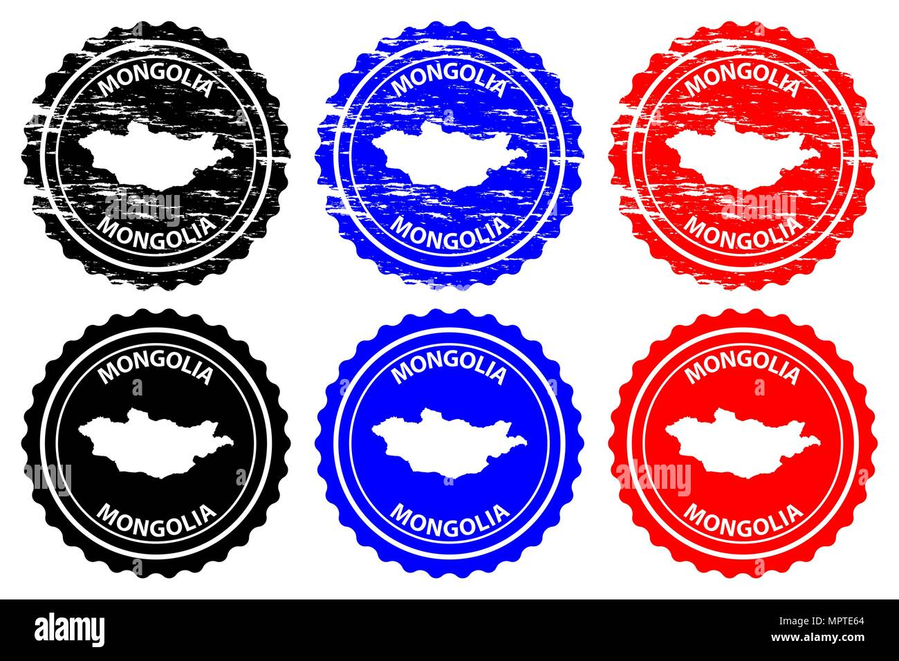 Mongolia - rubber stamp - vector, Mongolia map pattern - sticker - black, blue and red - Stock Vector