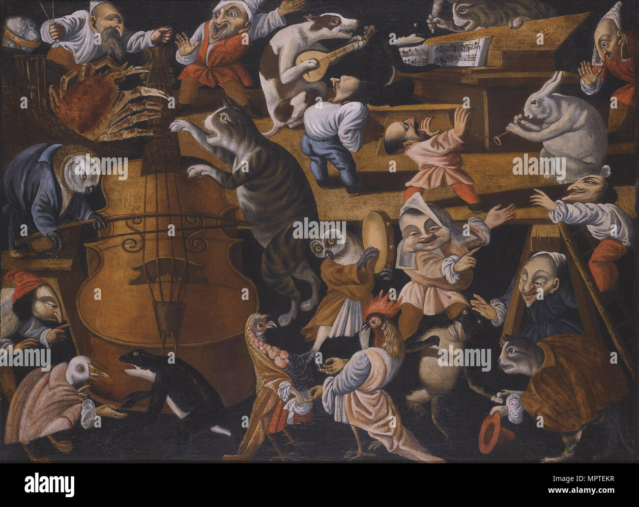 A concert of animals, birds and stylised figures, Second Half of the 17th cen.. - Stock Image