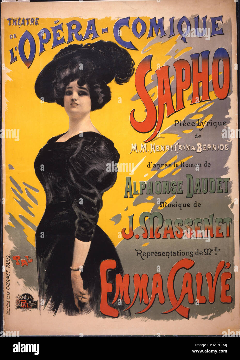 Emma Calvé as Fanny Legrand. Poster for the premiere of opéra-comique Sapho by Massenet performed on Stock Photo