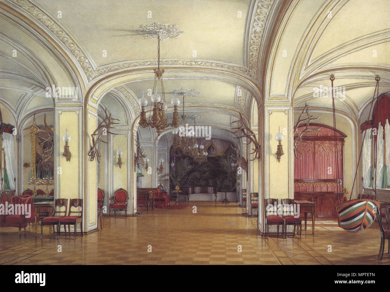 The Arsenal Hall at the Gatchina Palace, 1876. - Stock Image