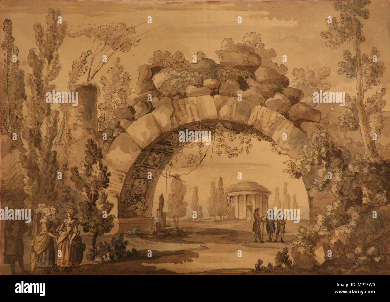 Park Landscape With An Arch, 1800s. - Stock Image