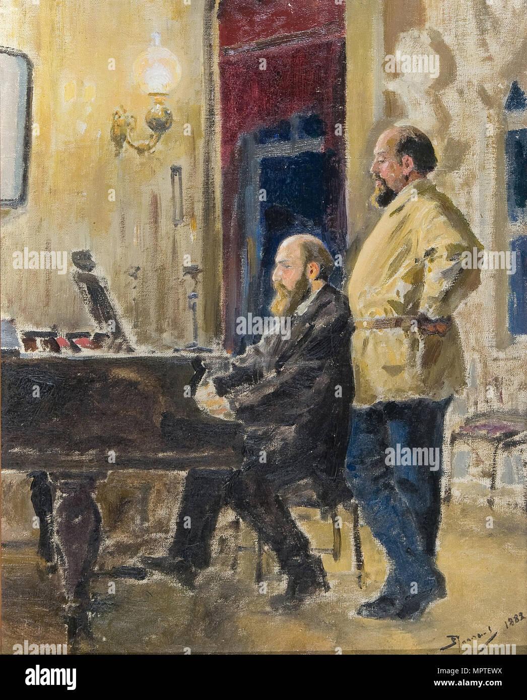 Pyotr Antonovich Spiro at piano and Savva Mamontov, 1882. - Stock Image