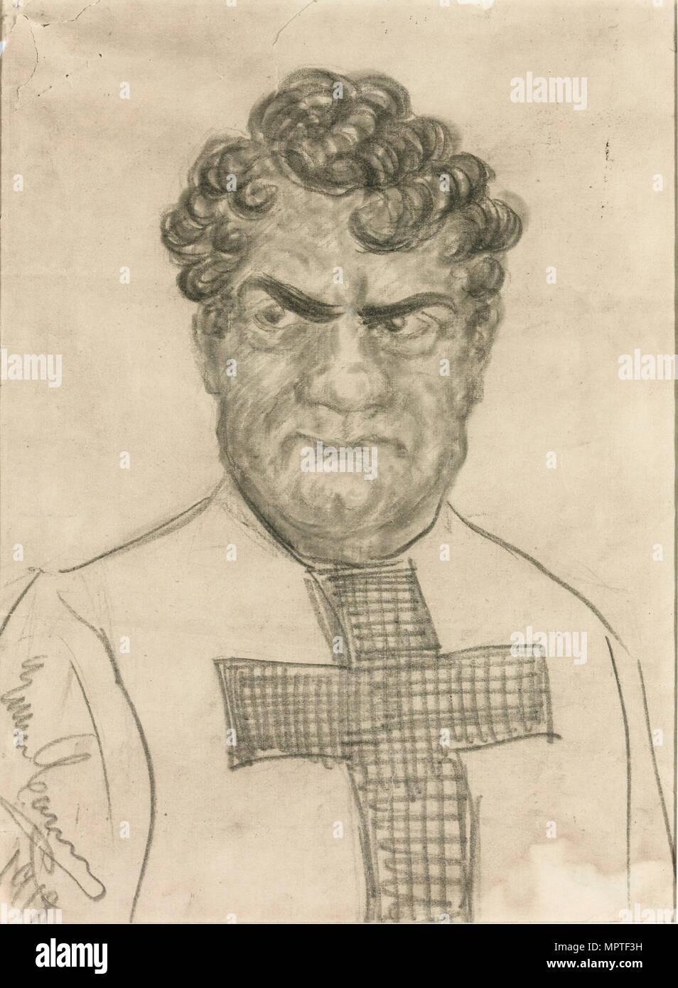 Self-caricature in the role of Don Alvaro in Opera La forza del destino by Giuseppe Verdi, 1918. - Stock Image