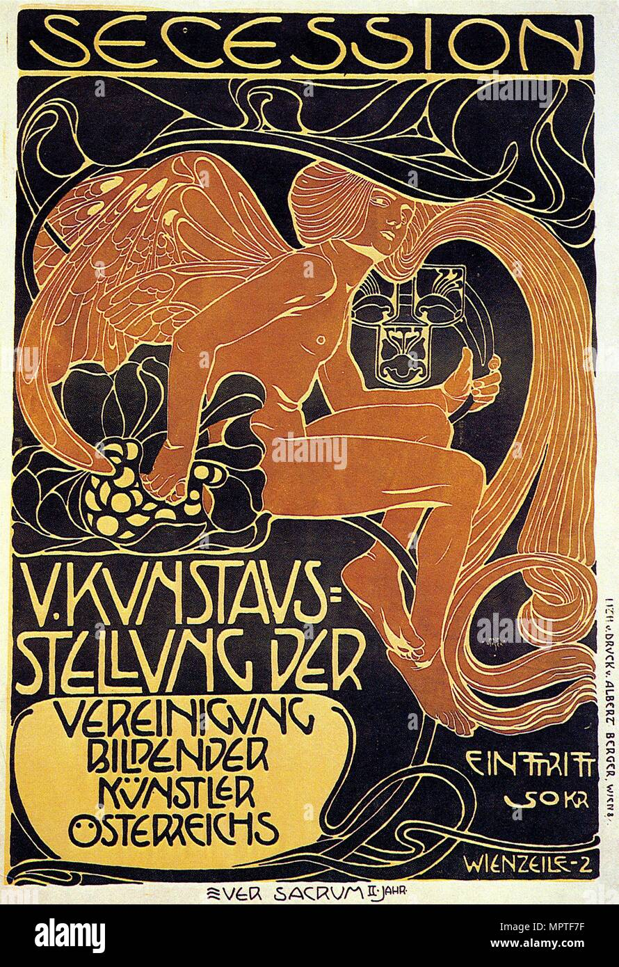 Vienna Secession, Fifth Exhibition poster, 1899. - Stock Image