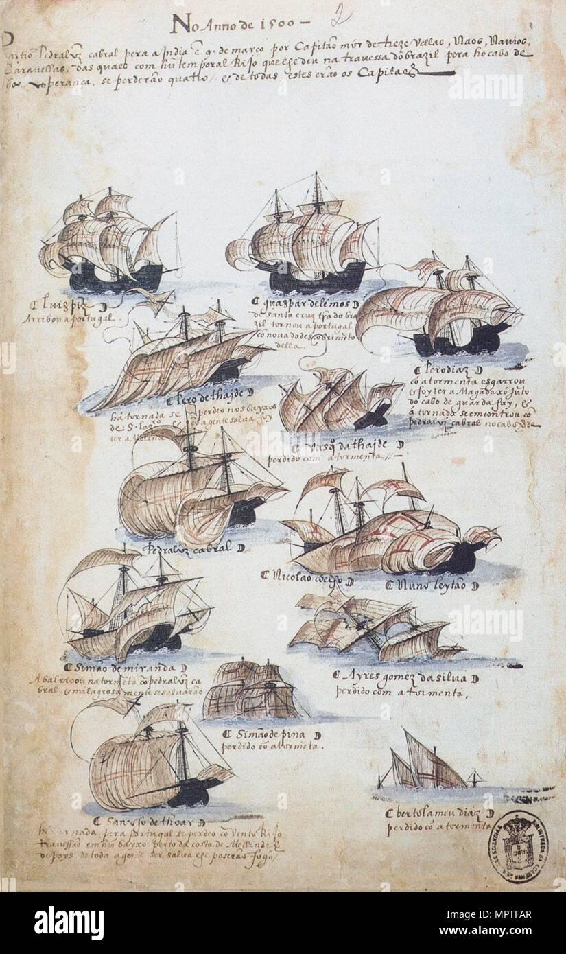 The fleet of Pedro Álvares Cabral in 1500. From Livro das Armadas, ca 1568. - Stock Image