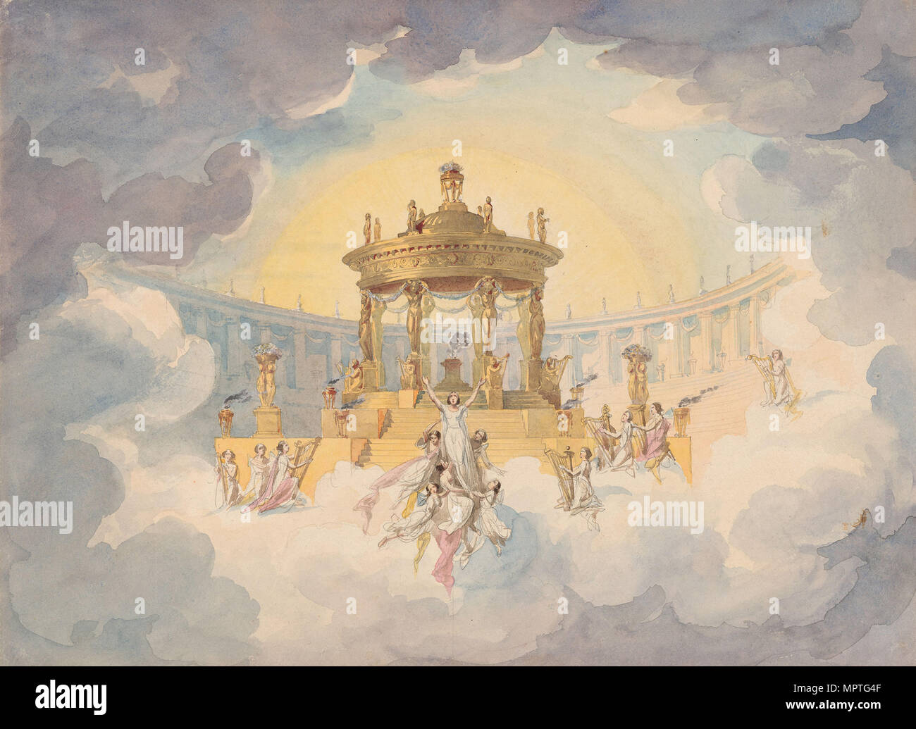Stage design for the opera Faust by Ch. Gounod, c. 1870. - Stock Image