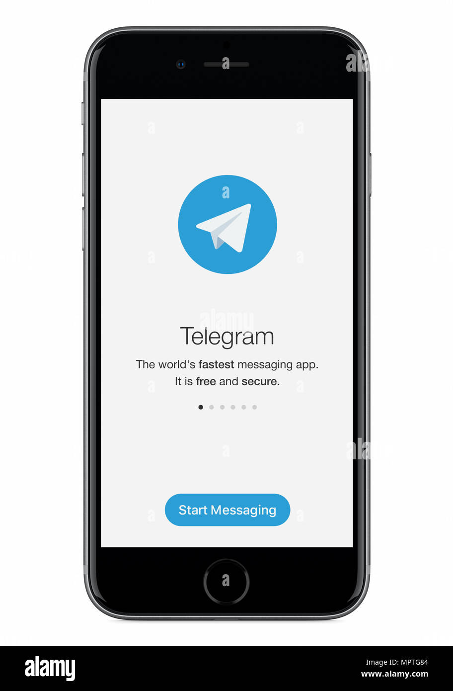 Telegram messenger launch screen with Telegram logo on black Apple iPhone 8 display. - Stock Image