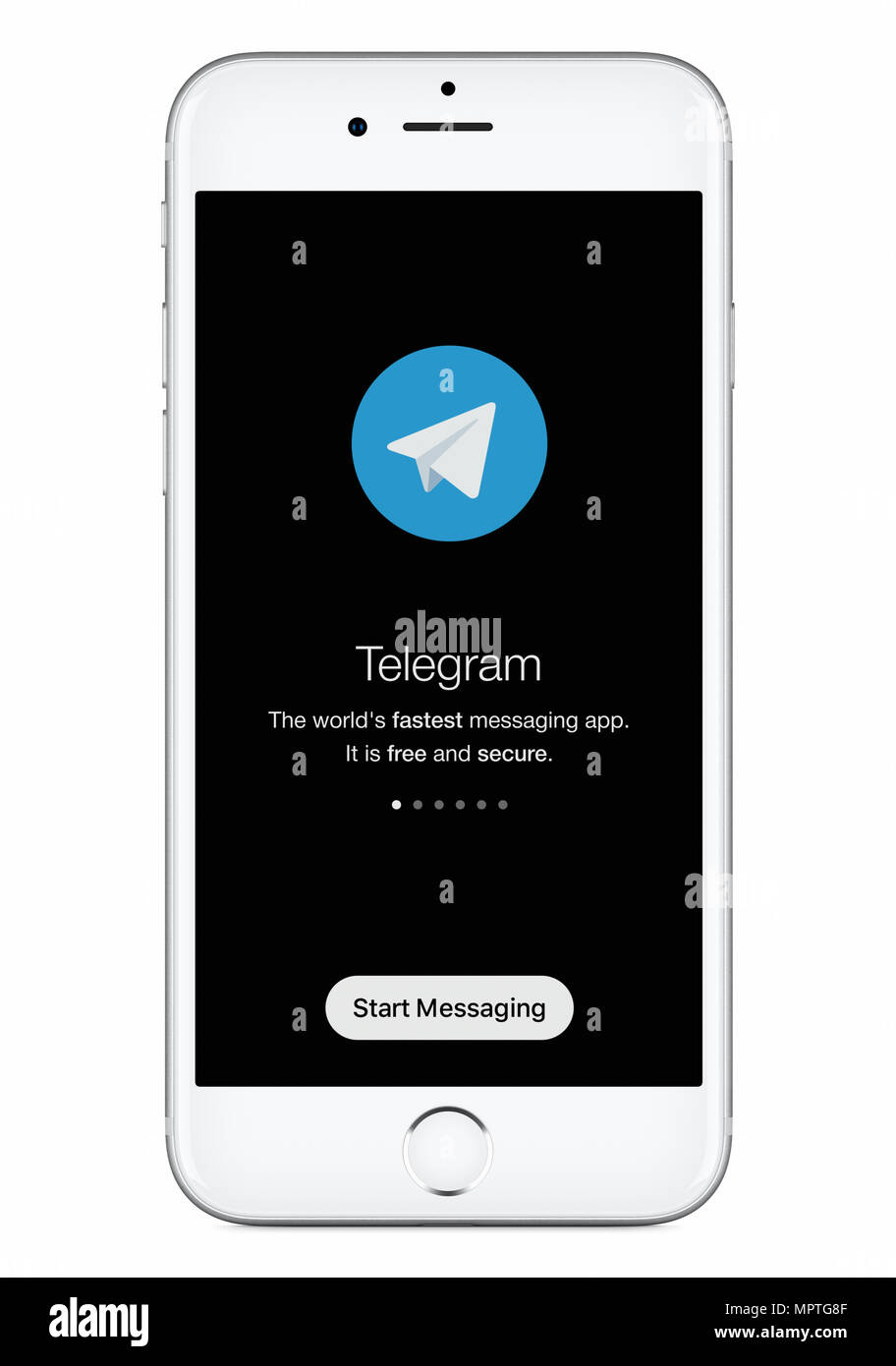 Telegram messenger launch screen with Telegram logo on white Apple iPhone 8 display. - Stock Image