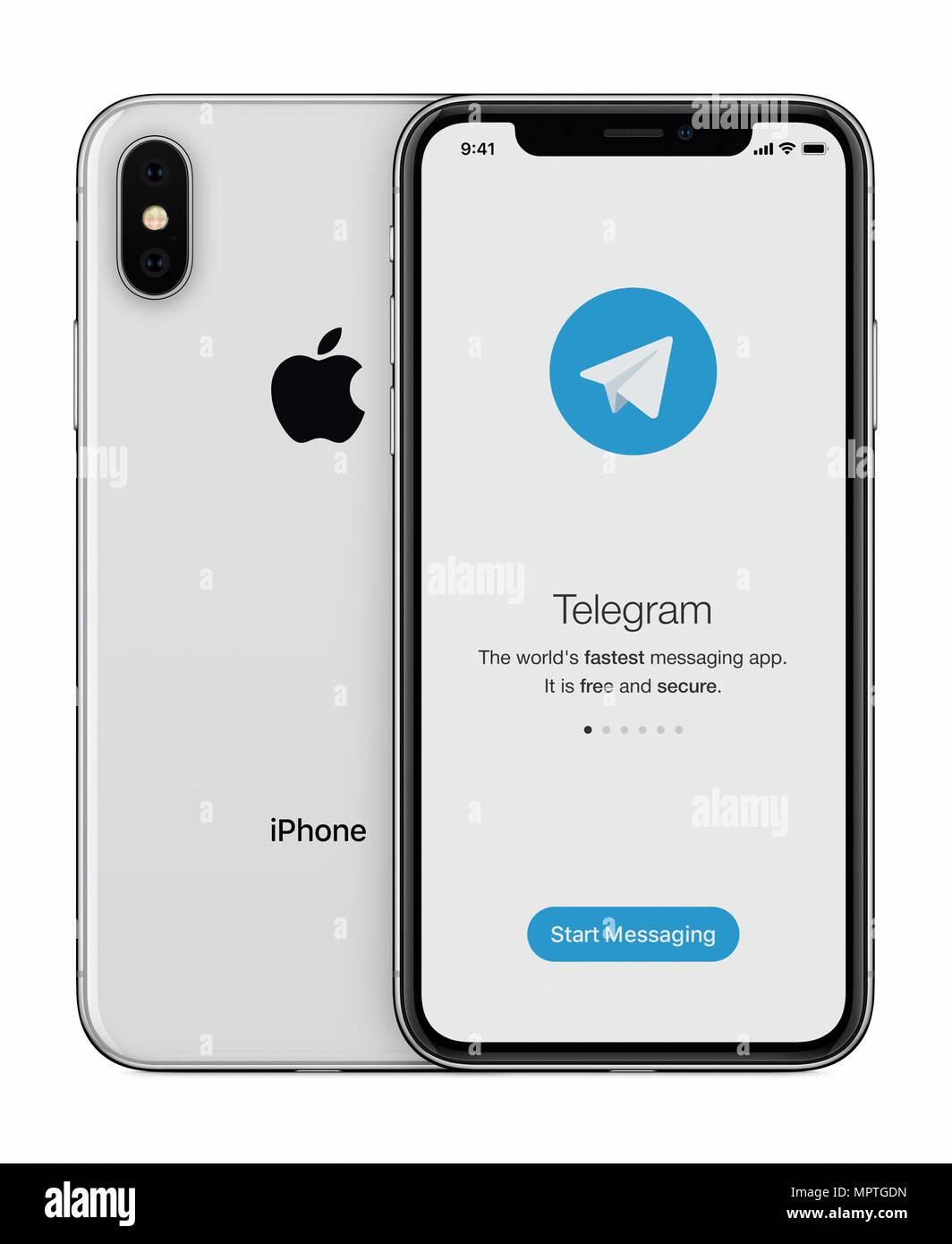 Telegram messenger launch screen with Telegram logo on Apple