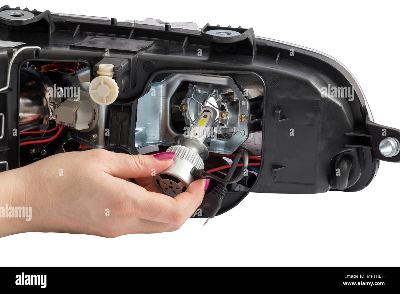 woman hand installing h7 led headlight bulb with wires abstract Car Dimmer Switch Wiring