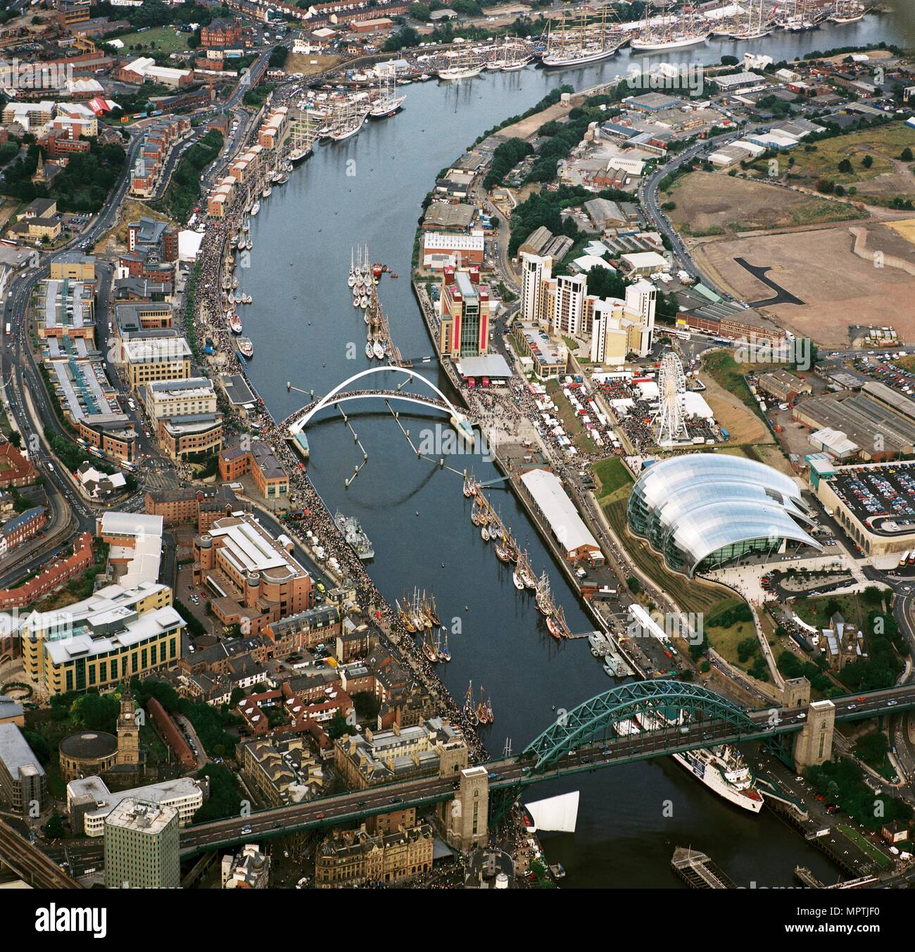 Vessels participating in the Tall Ships Race on the River Tyne, Newcastle-upon-Tyne, 2005. Artist: Unknown. - Stock Image