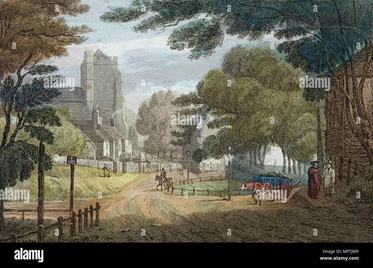 Entrance to Hastings, East Sussex, from Old London Road, showing All Saints' Church, c1790. Artist: Anon. - Stock Image