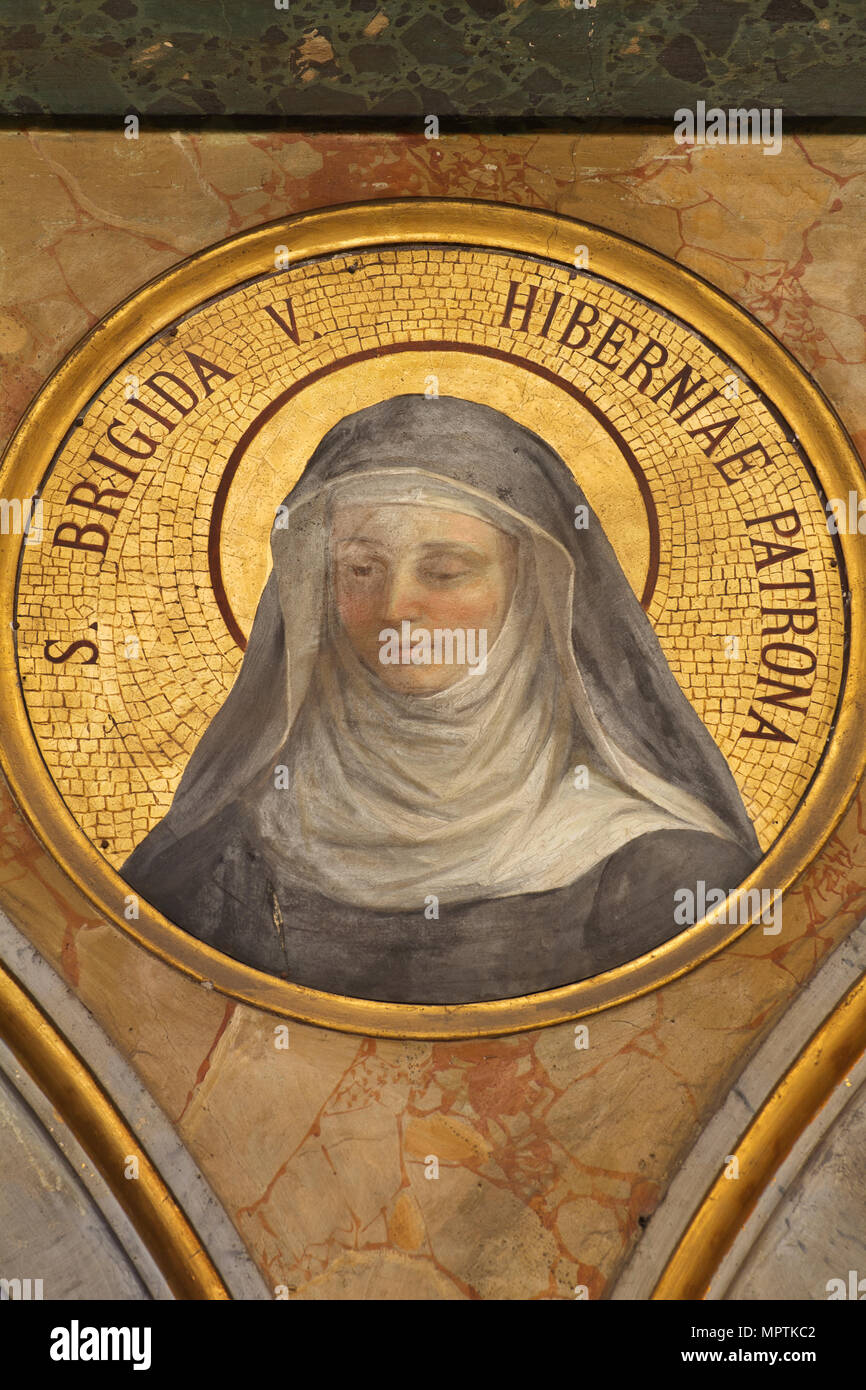 Saint Brigid of Kildare - Church of Sant'Agata dei Goti (Rome) - Irish Spiritual Heritage in Italy - Stock Image