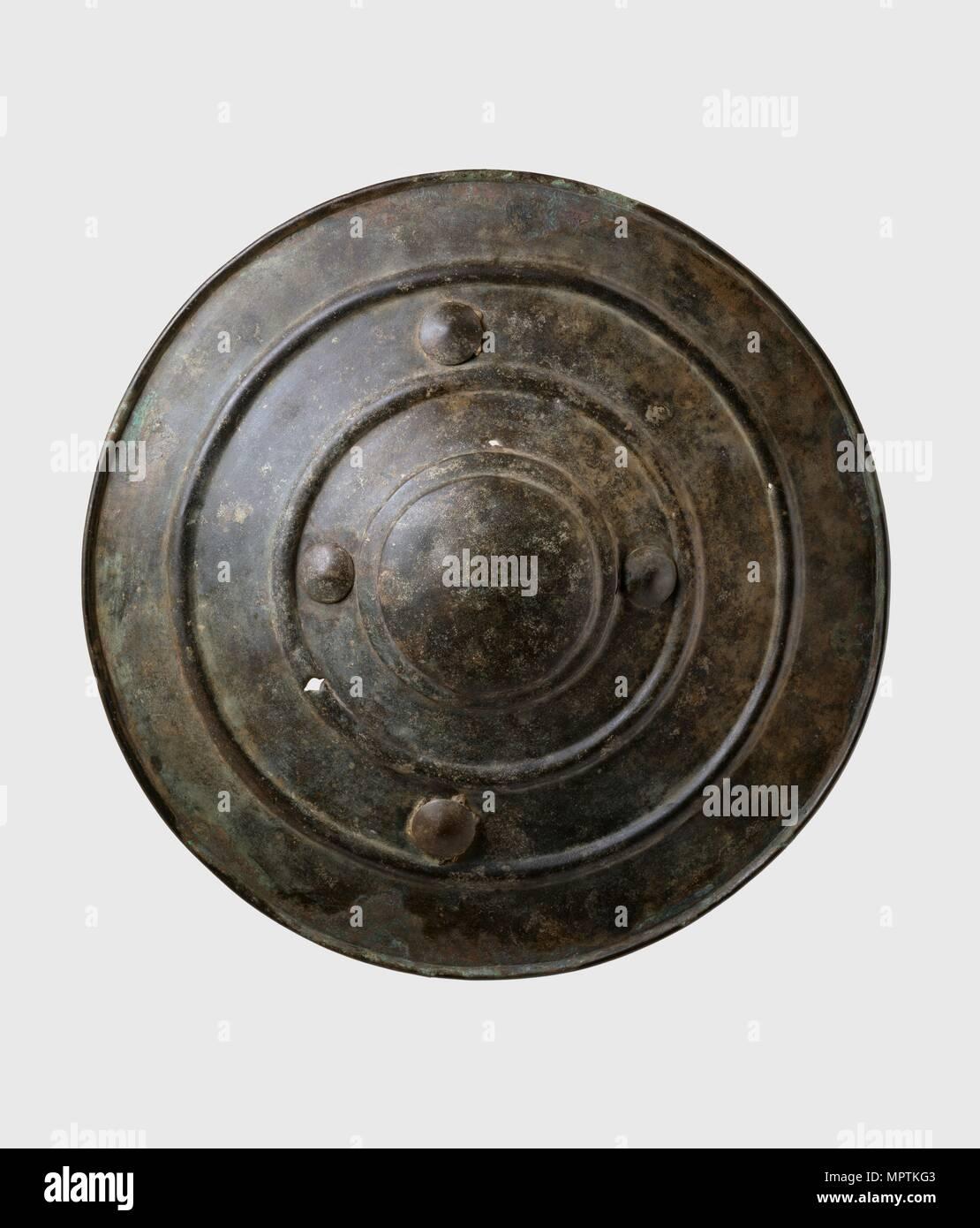 Bronze shield (Wittenham Shield), Late Bronze Age (Britain) (c1150-800 cal.BC). Artist: Unknown. - Stock Image