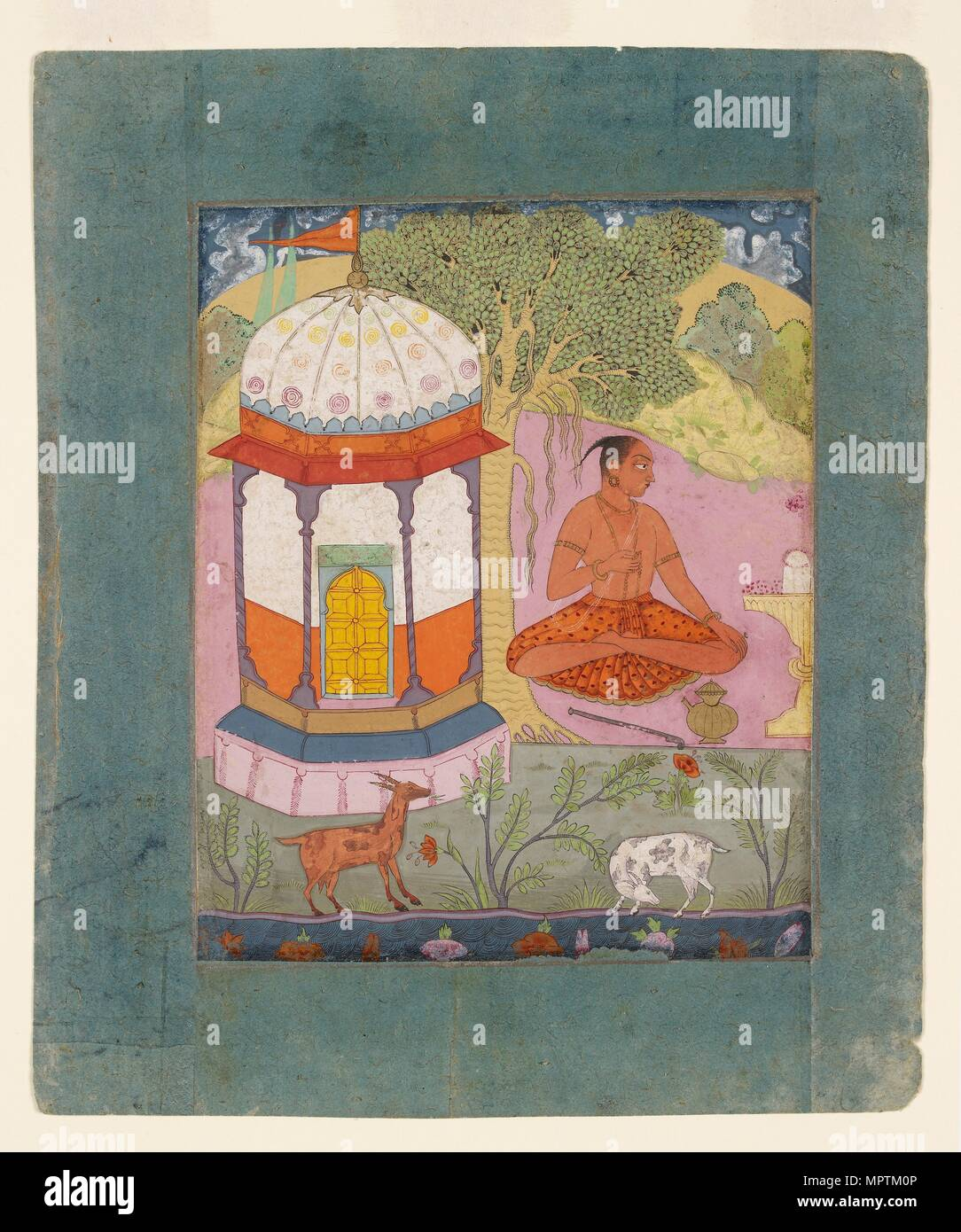 Ascetic in a landscape, illustrating the musical mode Bangali Ragini, c1675. Artist: Unknown. - Stock Image