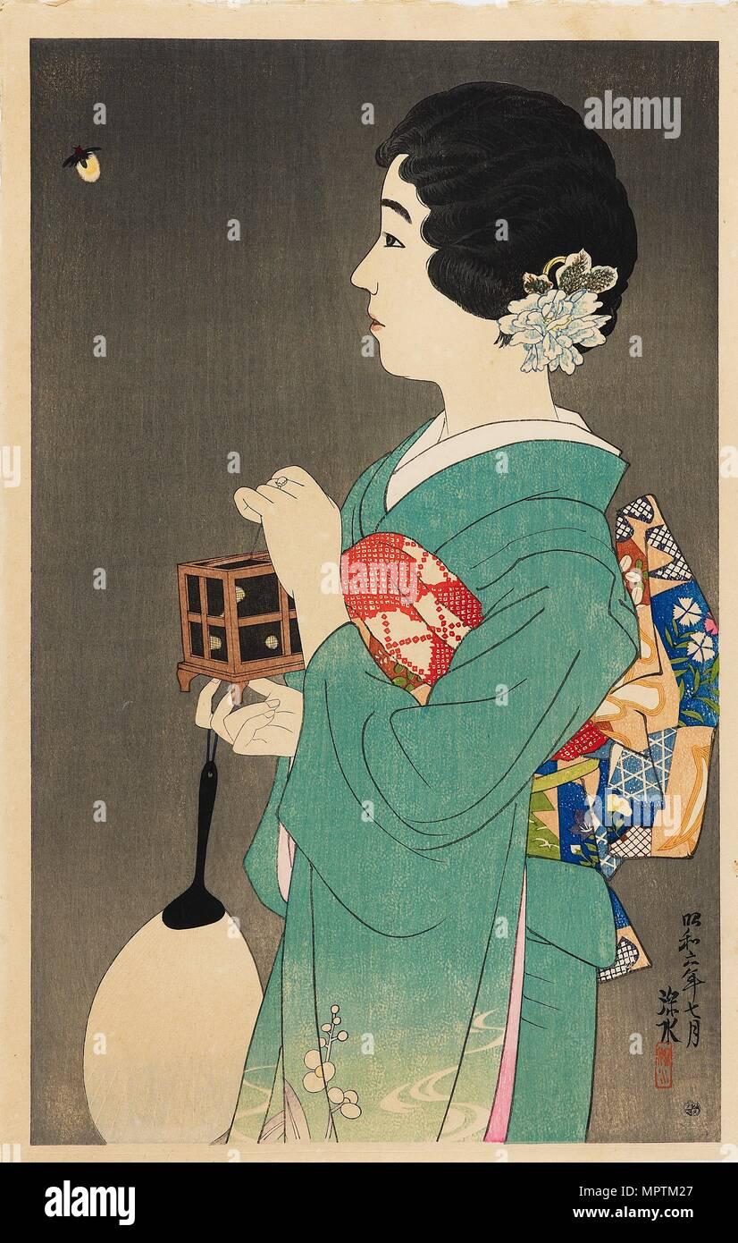 Catching Fireflies Hotaru Gari 1931 Artist Shinsui Ito Stock