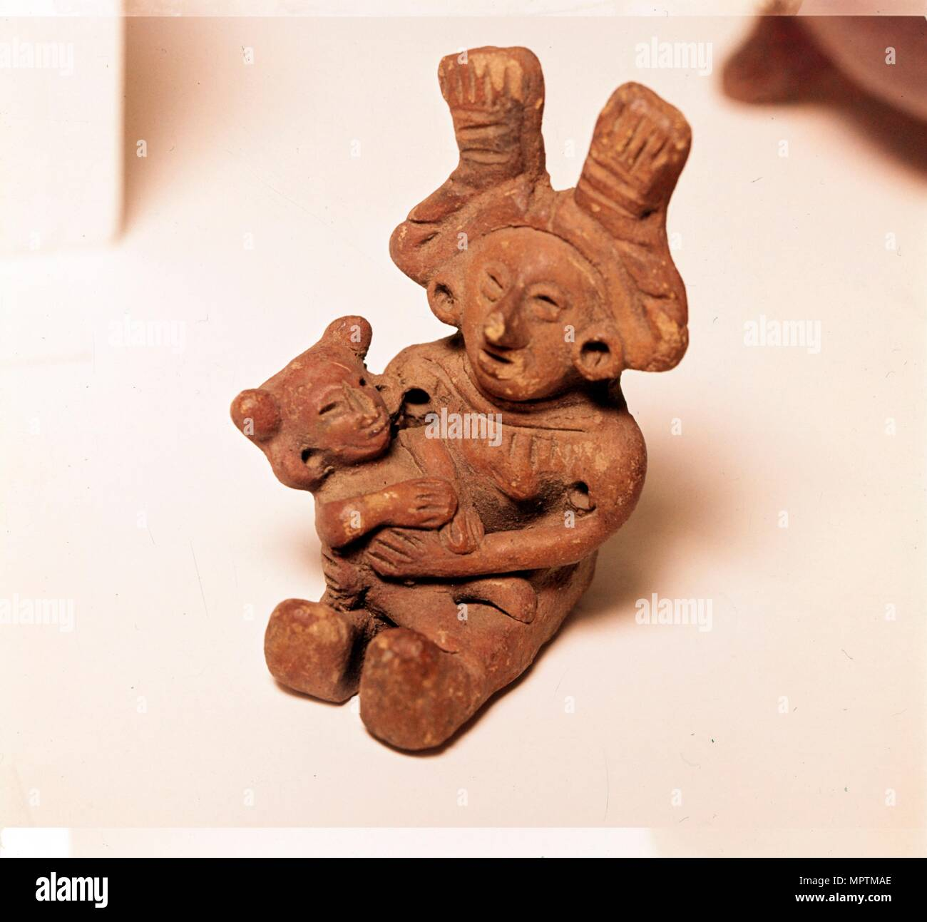 Pottery Rattle of woman holding child, Mexico. Axtec, late Post-Classic Period, 1300-1520. Artist: Unknown. - Stock Image