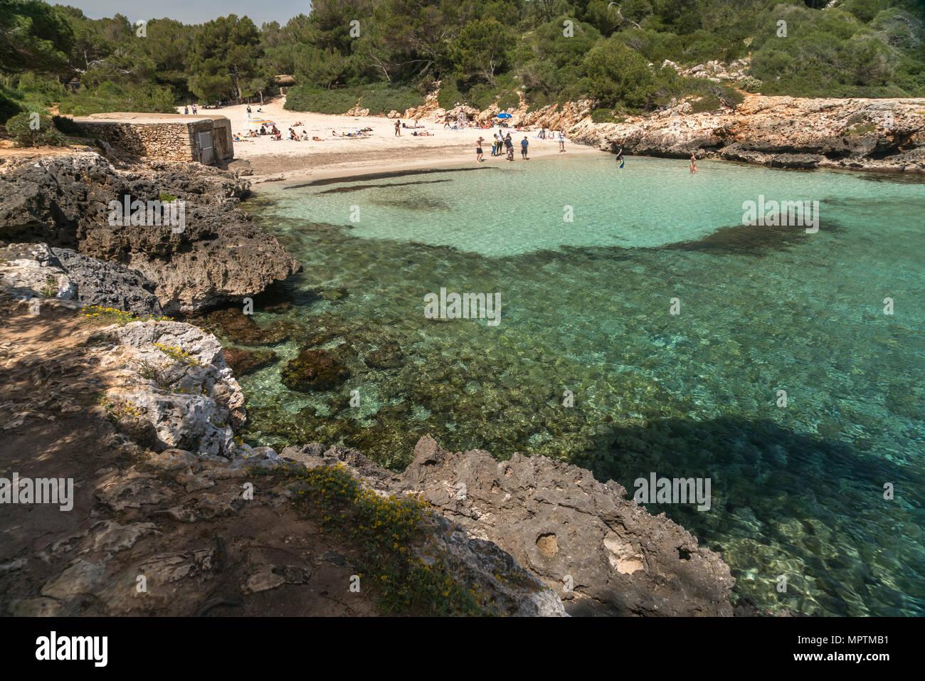 Cala Sa Nau, Felanitx, Mallorca, Balearen, Spanien  | Cala Sa Nau, Felanitx, Majorca, Balearic Islands, Spain, - Stock Image