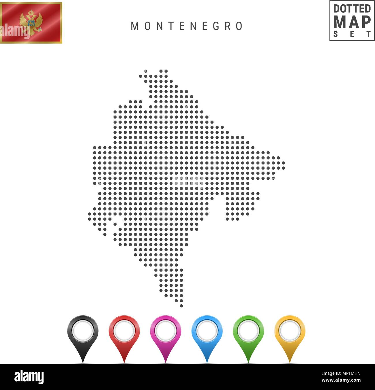 Vector Dotted Map of Montenegro. Simple Silhouette of Montenegro. Flag of Montenegro. Set of Multicolored Map Markers - Stock Image