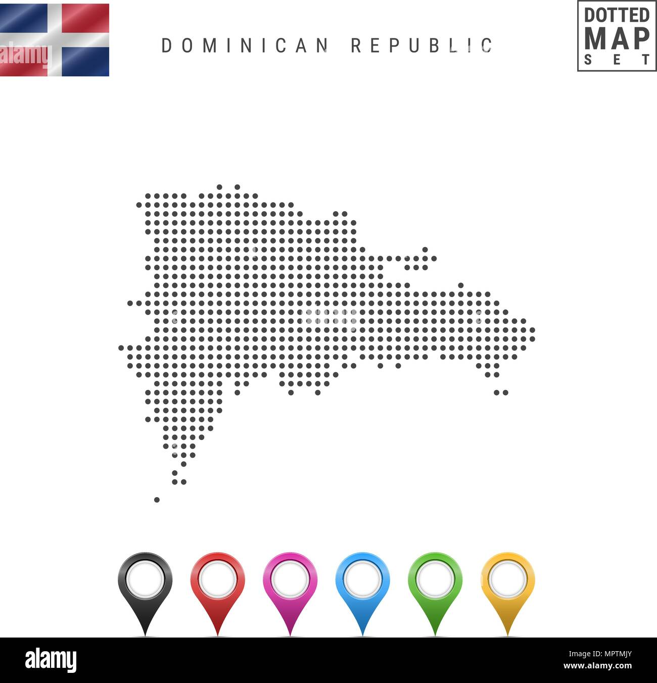 Vector Dotted Map of Dominican Republic. Silhouette of Dominican Republic. Flag of Dominican Republic. Map Markers Set Stock Vector
