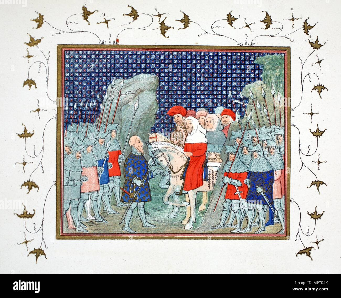 Richard II betrayed at Penmaur Rhos and taken prisoner by the Duke of Northumberland, facsimile copy - Stock Image