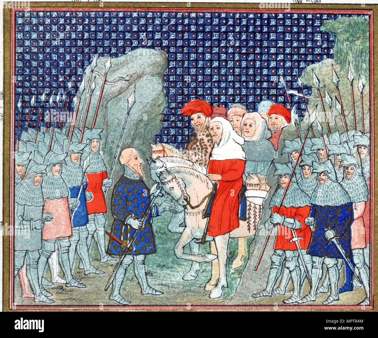 Richard II betrayed at Penmaur Rhos and taken prisoner by the Duke of Northumberland, 19th Century. - Stock Image