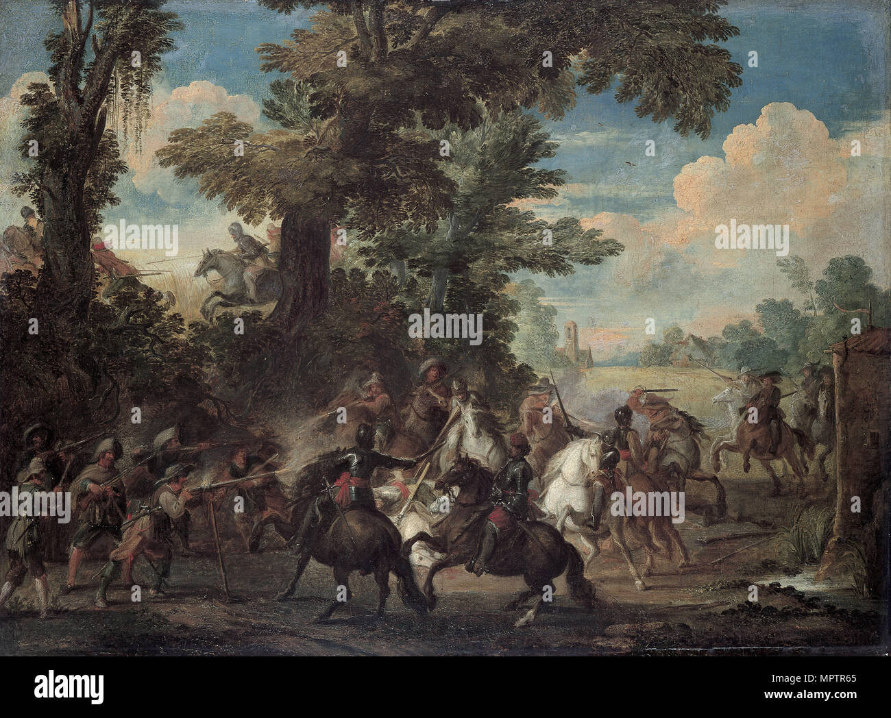 The Fight between Arquebusiers and cavalry. - Stock Image