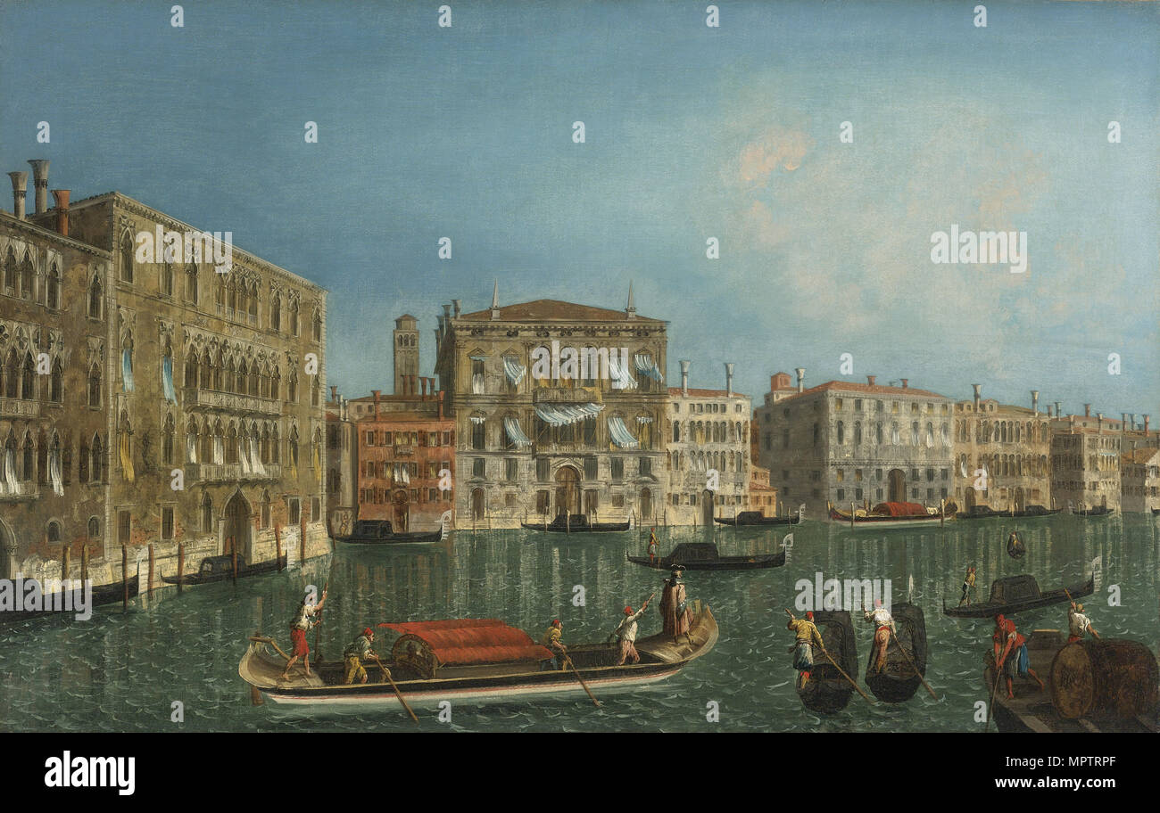 The Grand Canal with Palazzo Foscari and Palazzo Balbi. - Stock Image