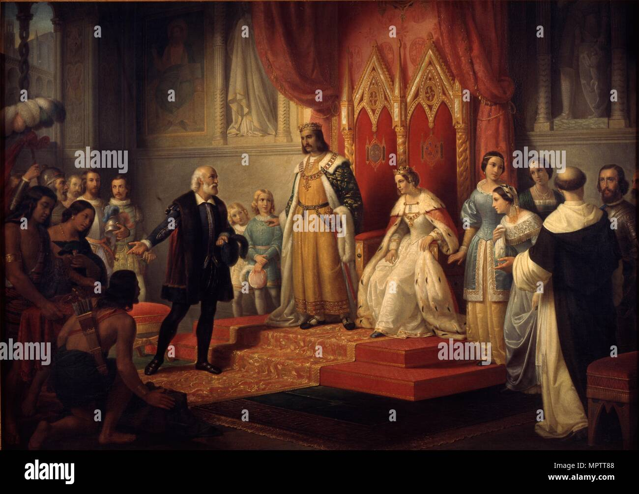 Christopher Columbus at the Court of the Catholic Monarchs. - Stock Image