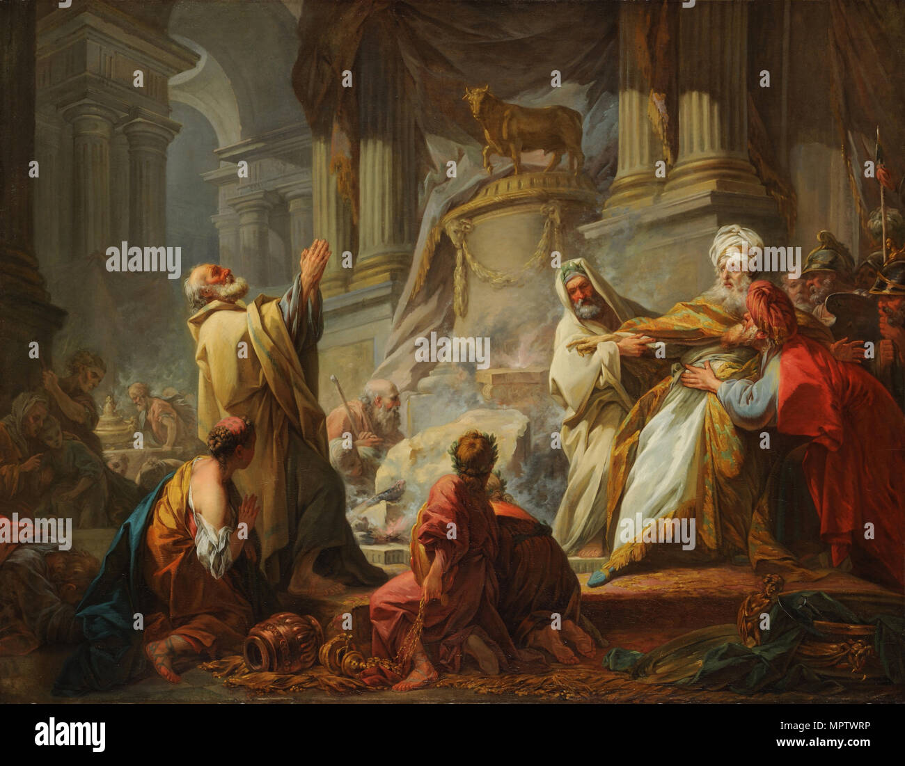 Jeroboam Sacrificing to Idols. - Stock Image