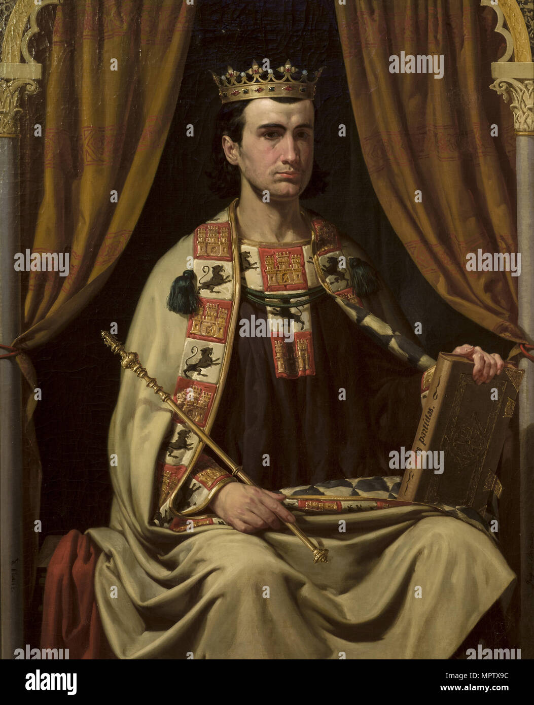 Portrait of Alfonso X (1221-1284), King of Castile, León and Galicia. - Stock Image