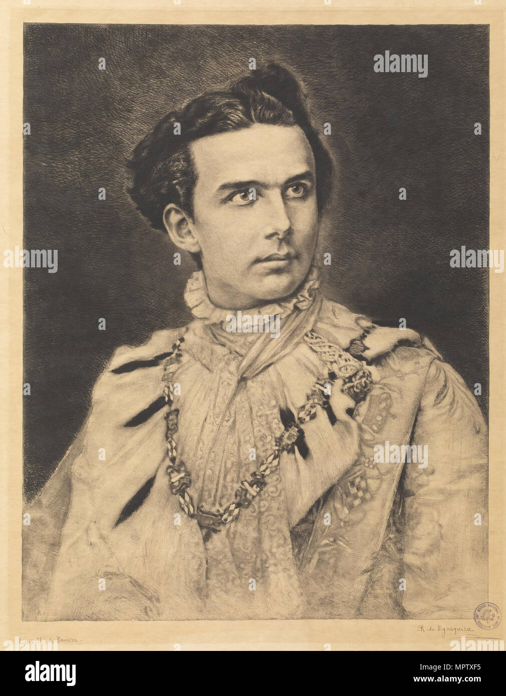 Portrait of Ludwig II of Bavaria (1845-1886). - Stock Image