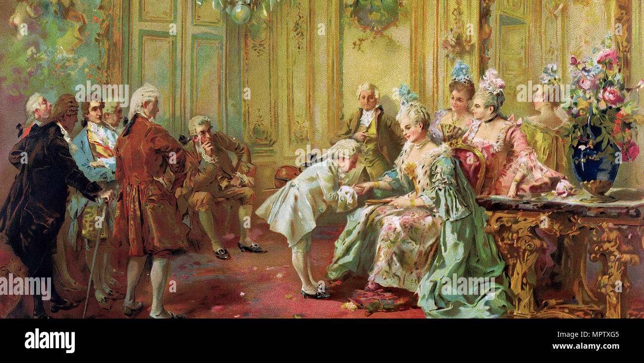 The presentation of the young Mozart to Mme de Pompadour at Versailles in 1763. - Stock Image