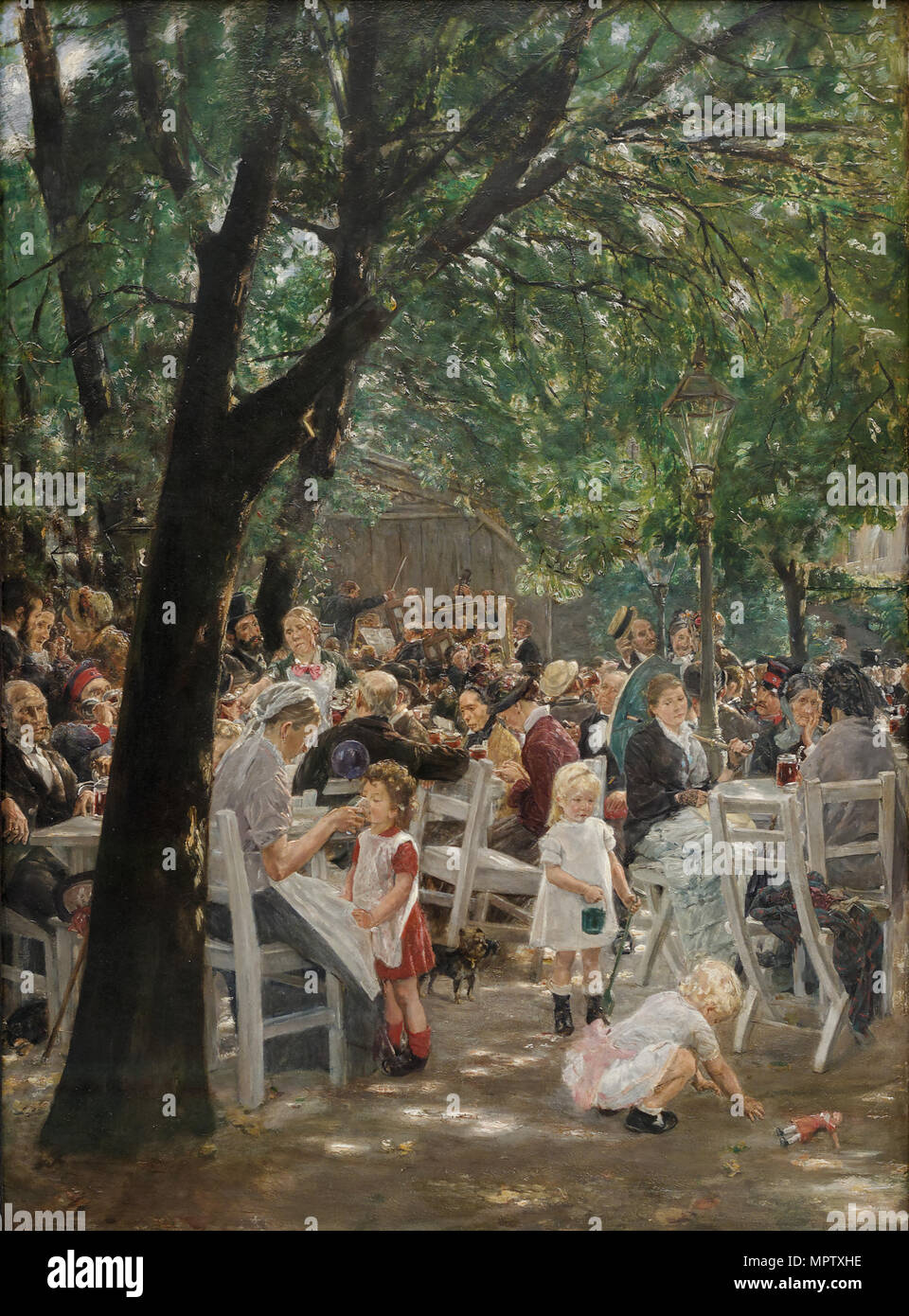 Munich beer garden. - Stock Image