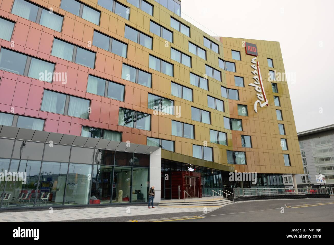 The newly opened Radisson Red hotel with unique changing colour frontage, in Finnieston, Glasgow, Scotland, UK - Stock Image