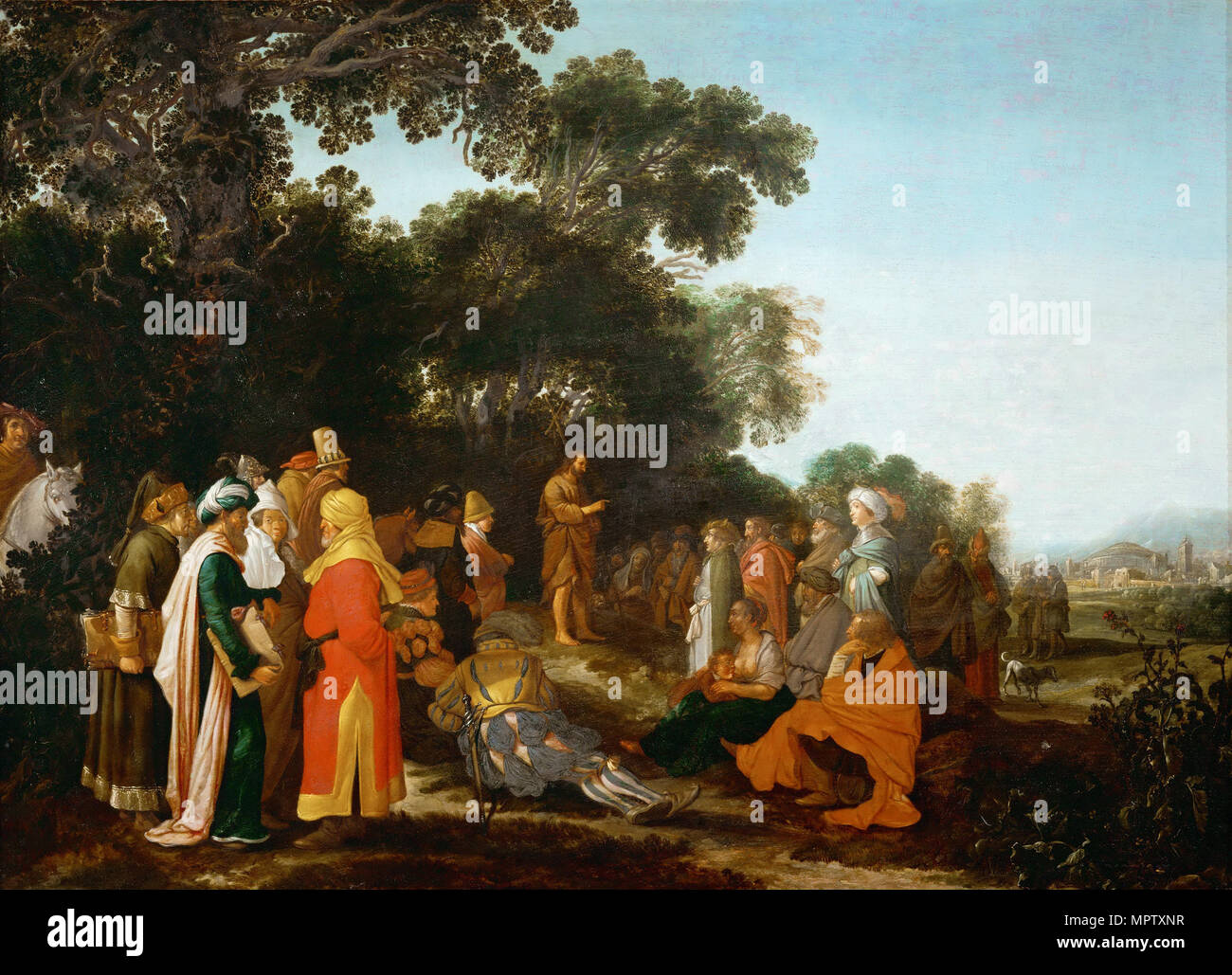 The Preaching of Saint John the Baptist. - Stock Image